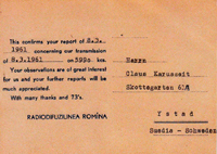 QSL Radio Bukarest 1961