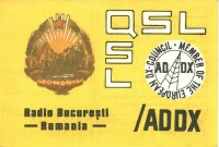 "QSL Febraur 1972 ""ADDX via Radio Bukarest"""