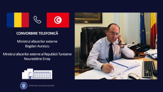 مكالمة هاتفية بين وزيري الخارجية الروماني والتونسي