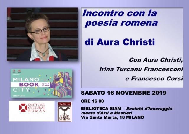 la poetessa romena aura christi a bookcity milano 2019