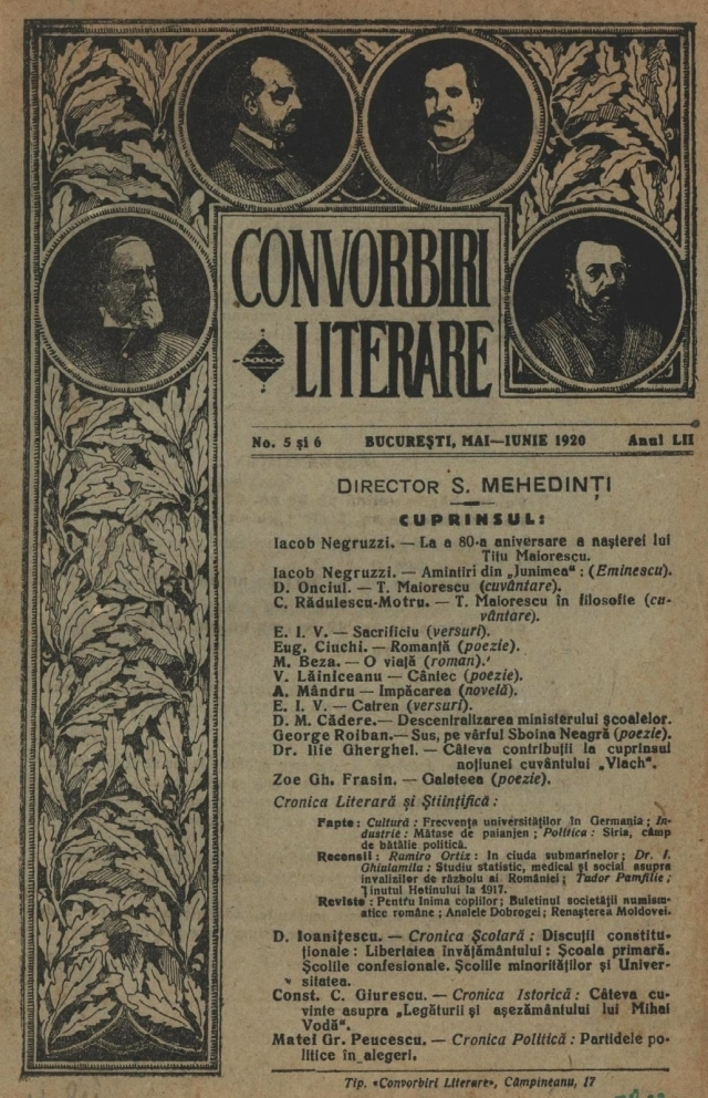 """la rivista """"convorbiri literare"""" (conversazioni letterarie)"""