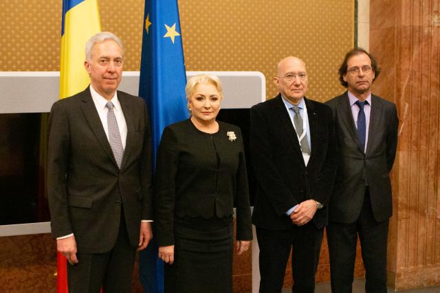 """מפגש ראשת ממשלת רומניה ויוריקה דנצ'ילה עם ראדו יואניד, ממוזיאון השואה בארה"""""""