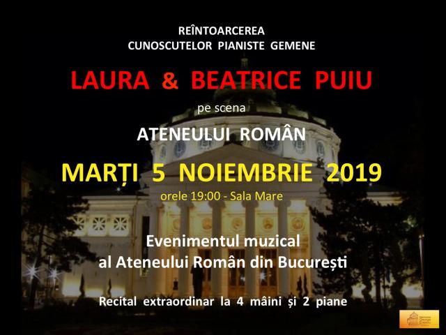 il duo pianistico laura e beatrice puiu, recital ad ateneul român di bucarest